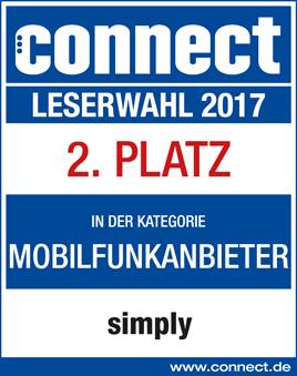 connect Leserwahl 2017 - 2. Platz Mobilfunkanbieter