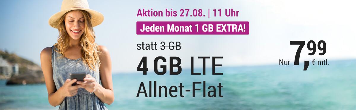 Aktion nur bis 27.08. - Jeden Monat 1 GB EXTRA!